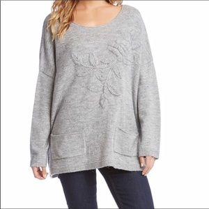 Karen Kane Oversized Embroidered Sweater Gray XS